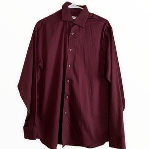 Calvin Klein Burgundy Long Sleeve Shirt size 16